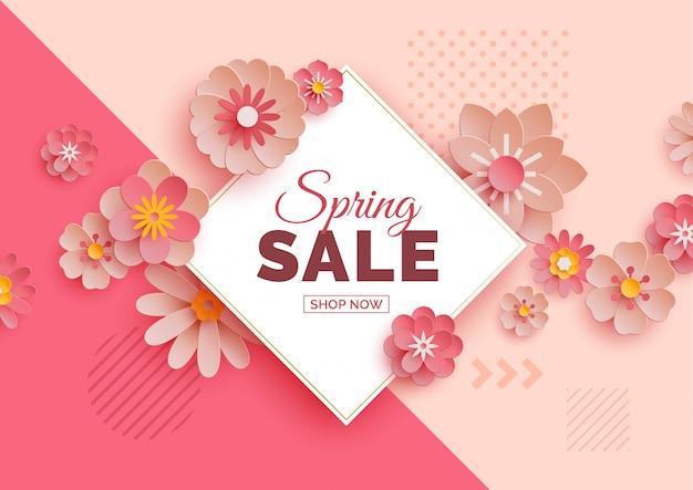 Bannière de vente de printemps avec des fleurs en papier Vecteur Premium