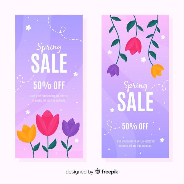 Bannière de vente de printemps tulipes Vecteur gratuit