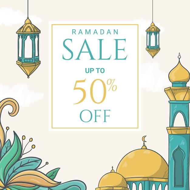 Bannière De Vente Ramadan Kareem Dessinée à La Main Avec Illustration D'ornement Islamique Vecteur Premium