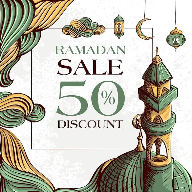 Bannière De Vente Ramadan Kareem Avec Ornement Illustration Islamique Dessinés à La Main Sur Fond Grunge Blanc. Vecteur Premium