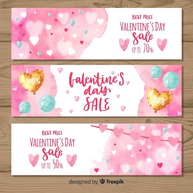 Bannière de vente saint valentin ballons aquarelle Vecteur Premium