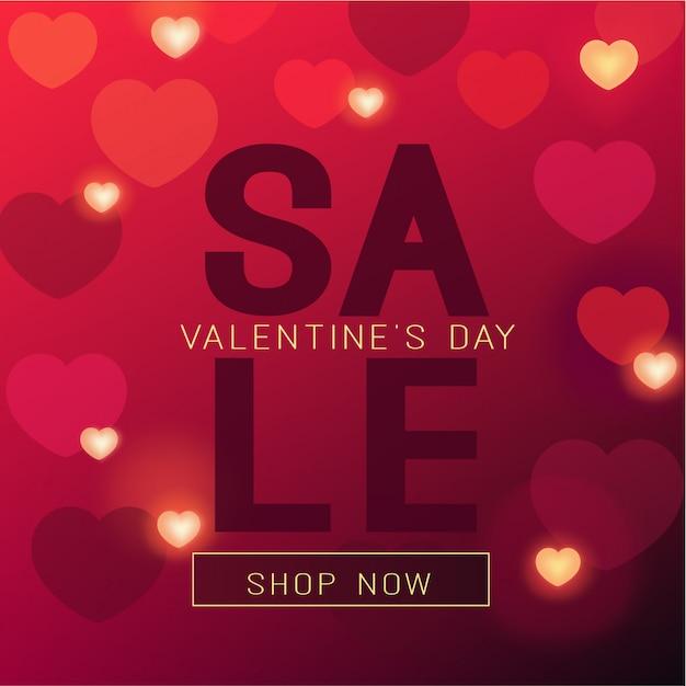 Bannière de vente de saint valentin en couleurs rouges et coeurs brillants Vecteur Premium