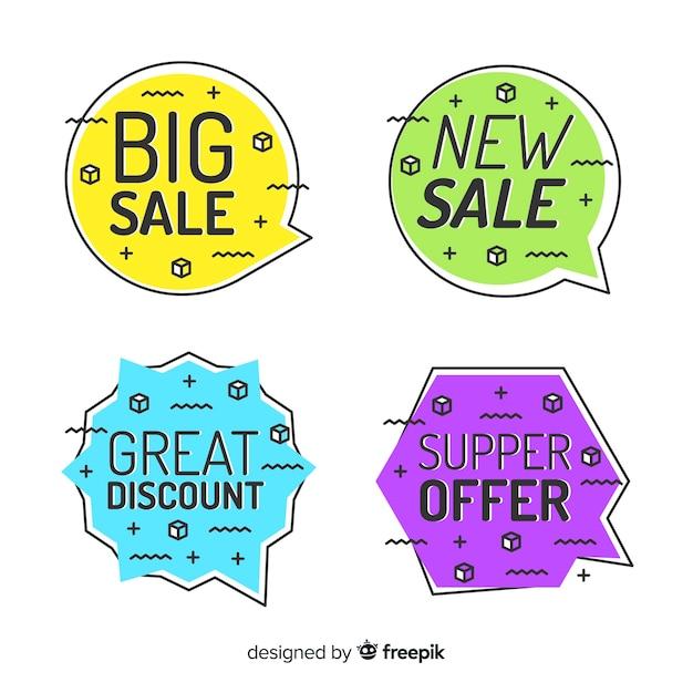 Bannière de vente style memphis Vecteur gratuit