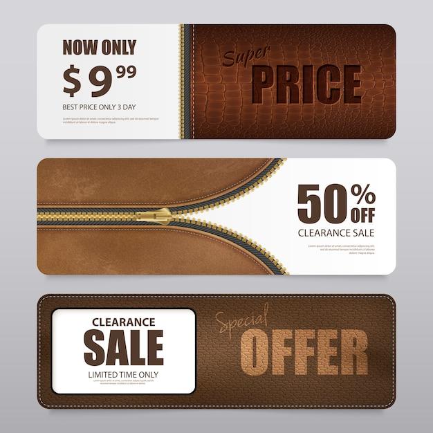 Bannière de vente de texture de cuir réaliste Vecteur gratuit