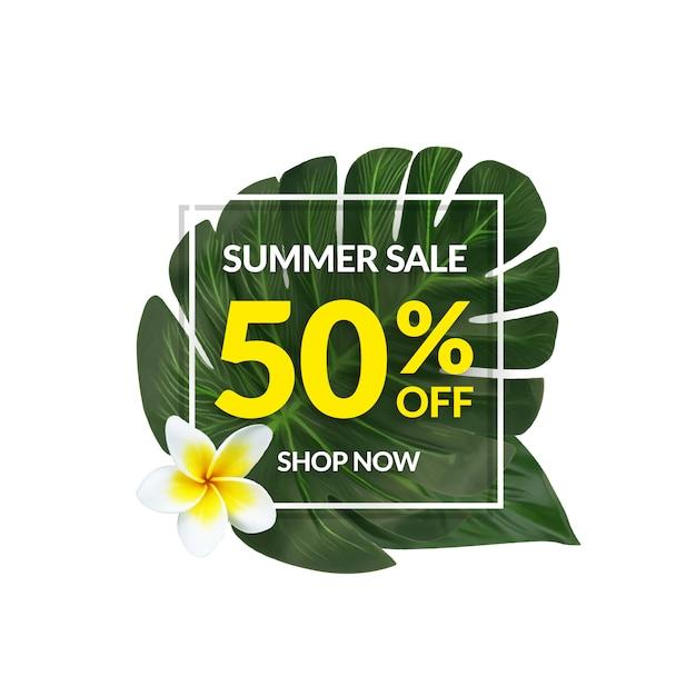 Bannière de vente tropicale Vecteur Premium