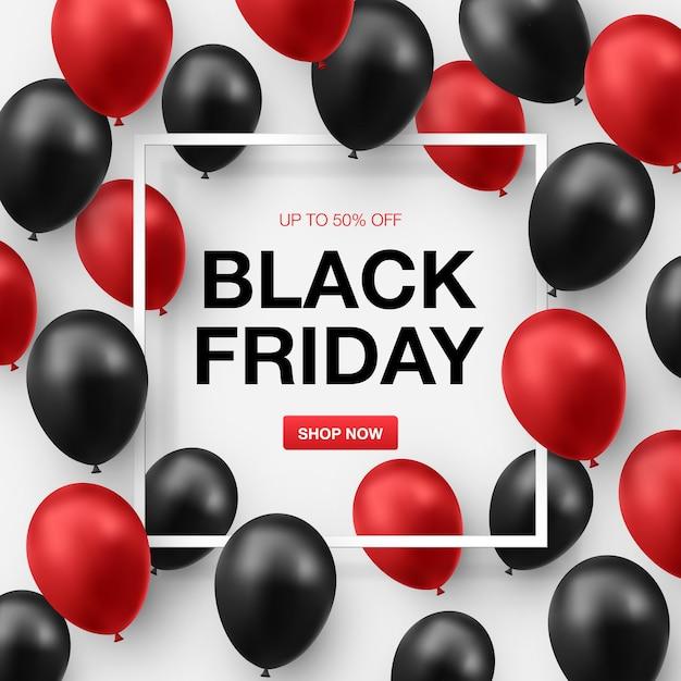 Bannière De Vente Vendredi Noir Avec Des Ballons Noirs Et Rouges Brillants Vecteur Premium