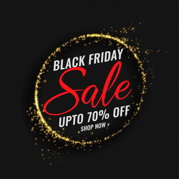 Bannière de vente vendredi noir avec cadre d'étincelles Vecteur gratuit
