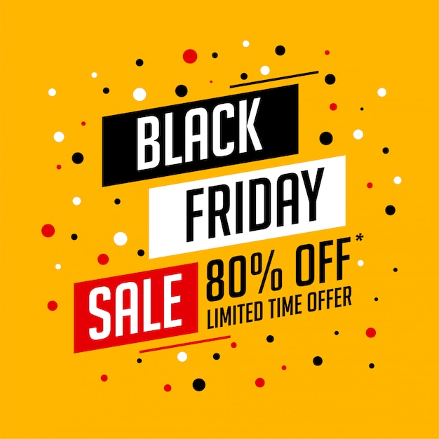 Bannière de vente vendredi noir jaune avec les détails de l'offre Vecteur gratuit