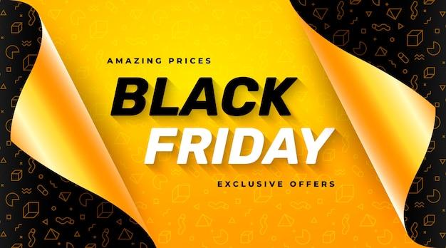Bannière De Vente Vendredi Noir Jaune Avec Papier D'emballage Cadeau Ouvert Vecteur gratuit