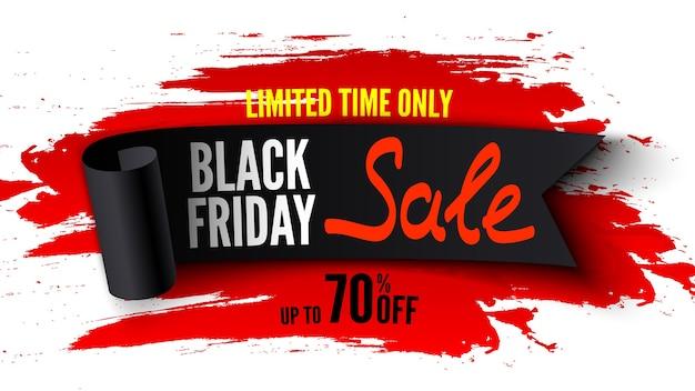 Bannière De Vente Vendredi Noir Avec Ruban Noir Et Coups De Pinceau Rouge Vecteur Premium