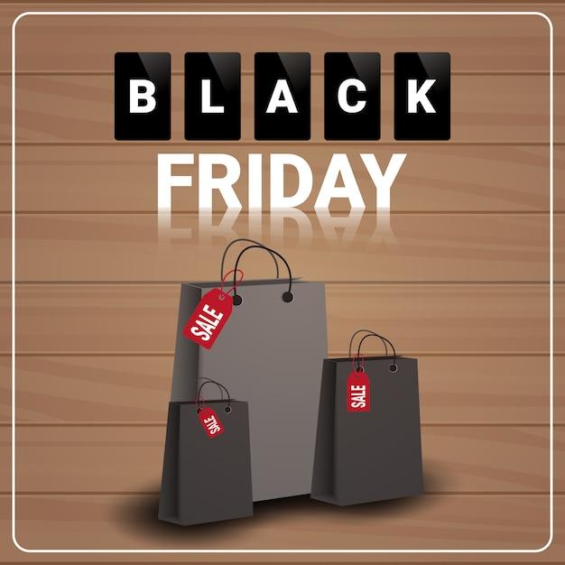 Bannière de vente vendredi noir avec des sacs à provisions en bois texturé Vecteur Premium