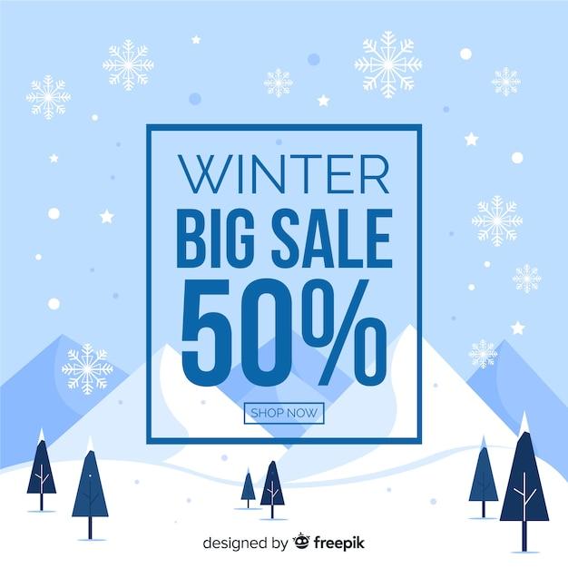 Bannière des ventes d'hiver Vecteur gratuit