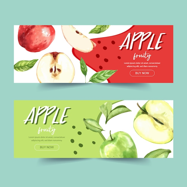 Bannière Avec Vert Et Plusieurs Types De Concept De Pomme, Modèle D'illustration Sur Le Thème Coloré. Vecteur gratuit