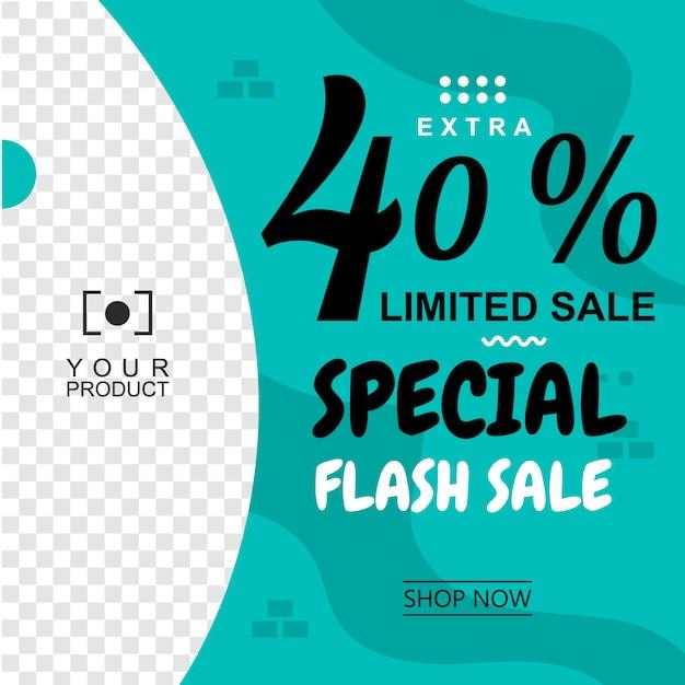 Bannière verte fond abstrait vente flash Vecteur Premium