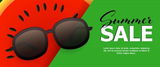 Bannière Verte Soldes D'été Vecteur gratuit