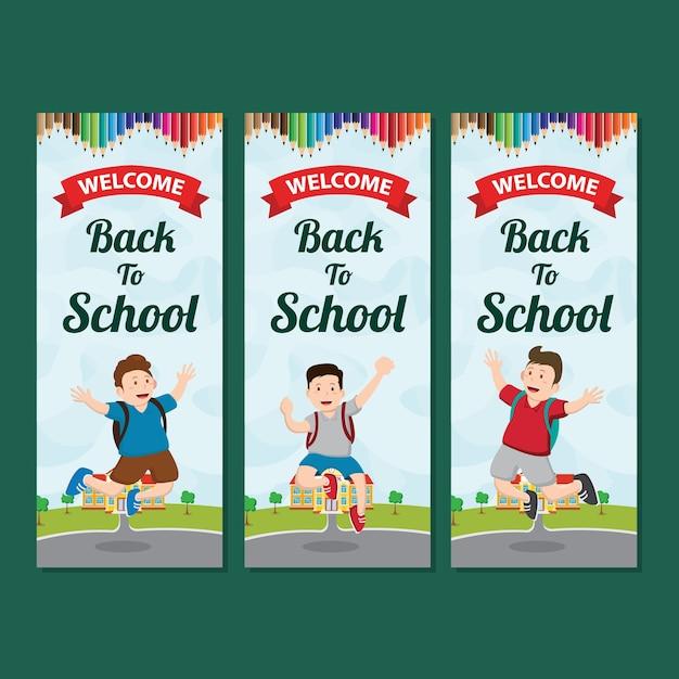 Bannière verticale bienvenue à l'école Vecteur Premium