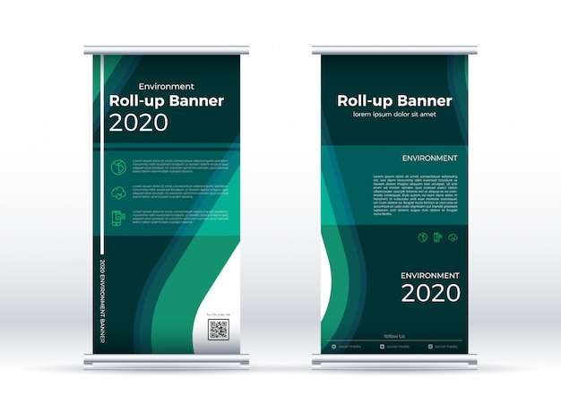 Bannière Verticale Environnement Vert Avec Plat. Vecteur Premium
