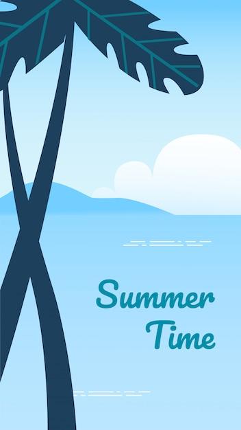 Bannière verticale de l'heure d'été, fond de plage Vecteur Premium