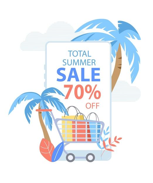 Bannière verticale total summer sale, panier plein de sacs en papier et de palmiers Vecteur Premium
