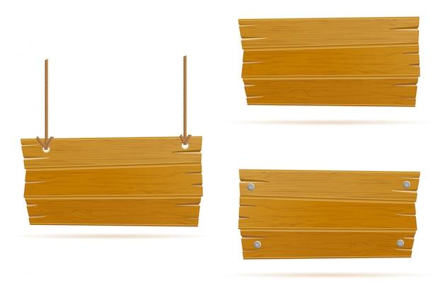 Bannière vide en bois ancien rétro planche vintage Vecteur Premium