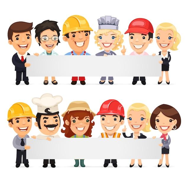 Bannière vide présentant divers professionnels Vecteur Premium