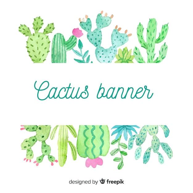 Bannière vierge de cactus aquarelle Vecteur gratuit
