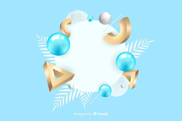 Bannière vierge avec des formes géométriques tridimensionnelles Vecteur gratuit