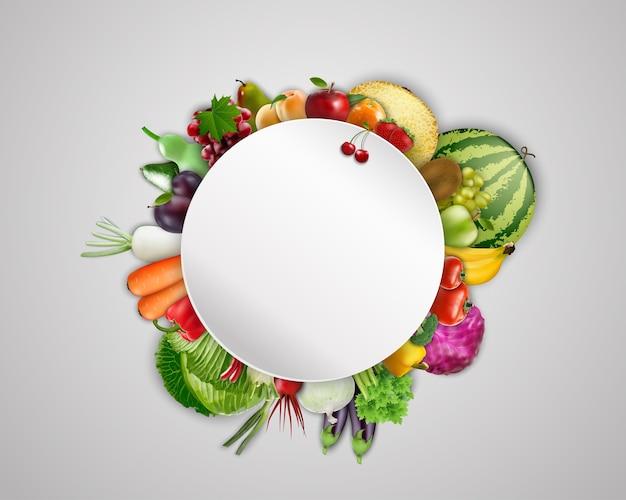 Bannière vierge ronde sur fond de fruits et légumes Vecteur Premium