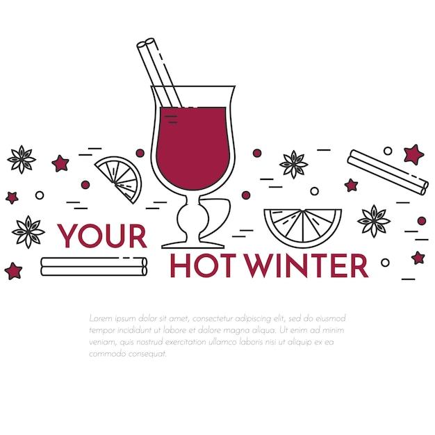 Bannière de vin chaud hiver horizontal en dessin au trait. Vecteur Premium