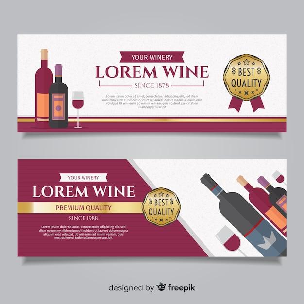 Bannière de vin plat Vecteur gratuit