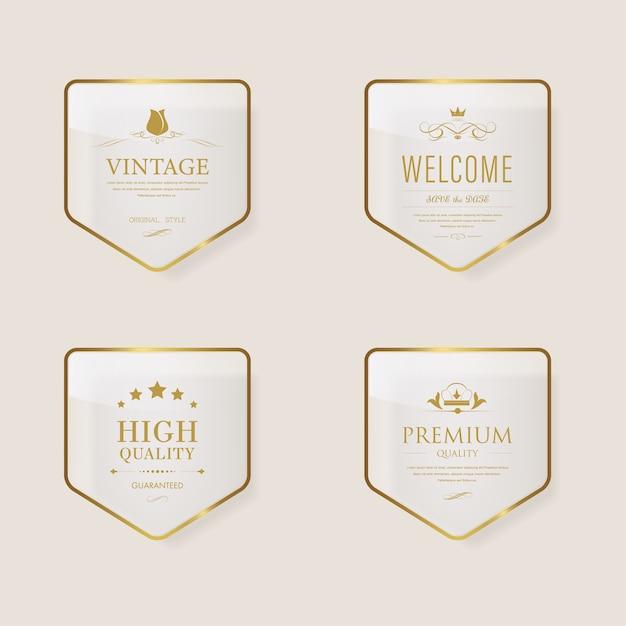 Bannière vintage brillant avec cadre en métal doré. Vecteur Premium