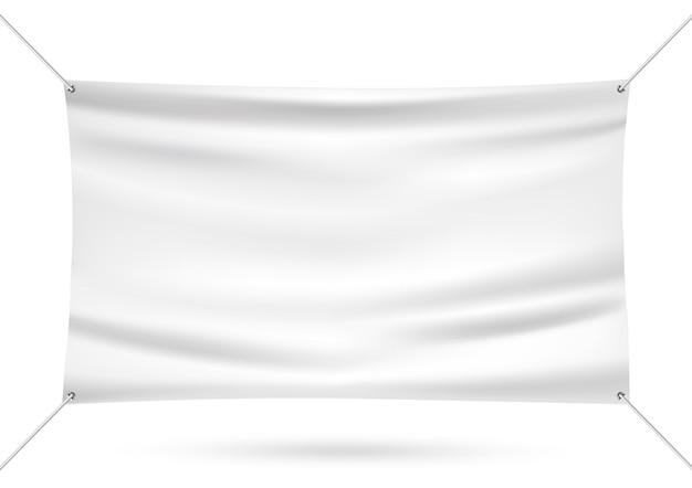 Bannière de vinyle blanc maquette Vecteur Premium