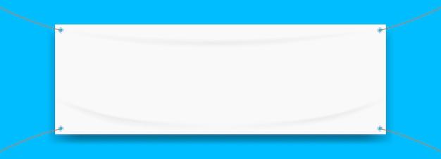Bannière en vinyle textile blanc blanc sur bleu Vecteur Premium