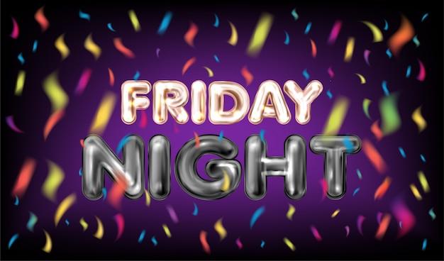 Bannière violette du vendredi soir avec des confettis Vecteur Premium
