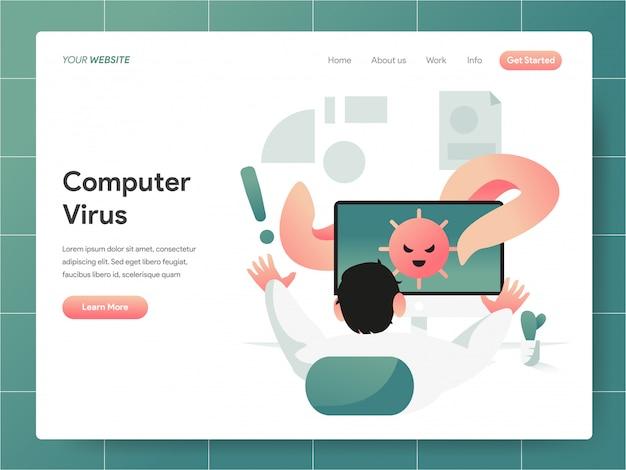 Bannière de virus informatique de la page de destination concept Vecteur Premium