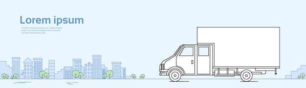 Bannière de voiture de camion sur la cargaison d'expédition de cargaison de route Vecteur Premium