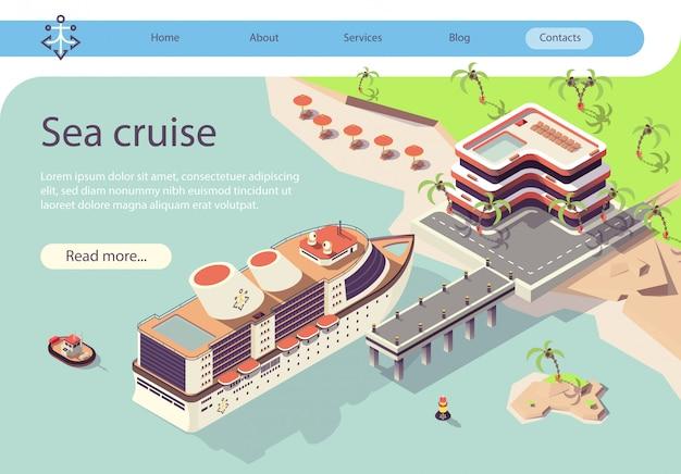 Bannière voyage en bateau de croisière en mer dans les pays tropicaux Vecteur Premium
