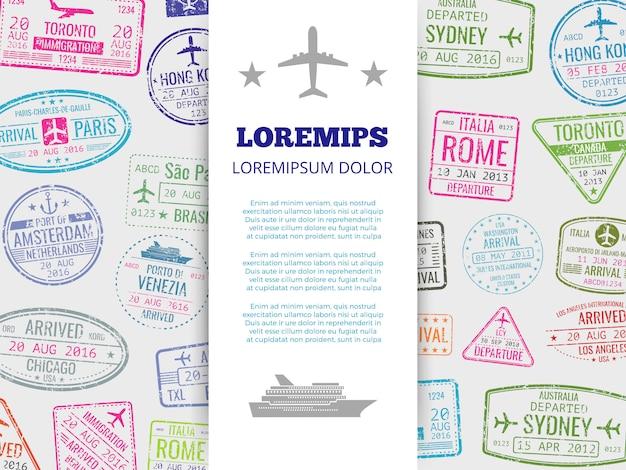 Bannière de voyage avec fond de timbres passeport grunge Vecteur Premium