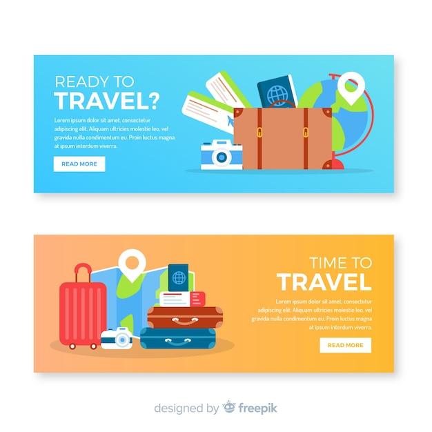 Bannière de voyage plat avec valise Vecteur gratuit