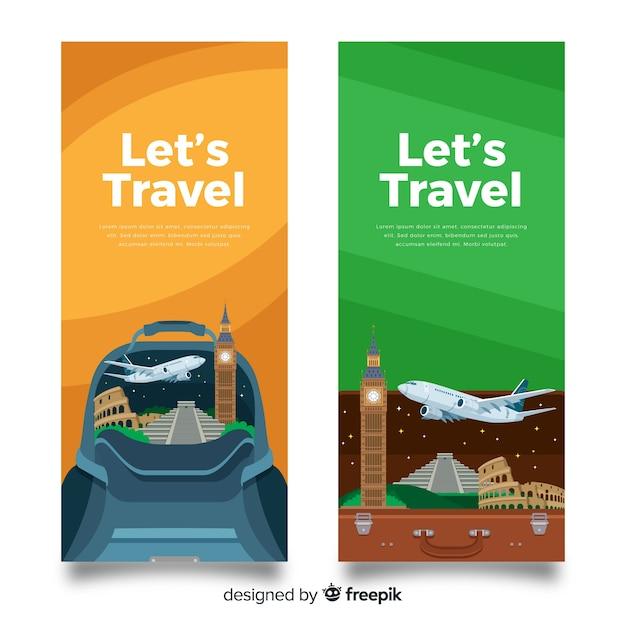 Bannière de voyage plat Vecteur gratuit