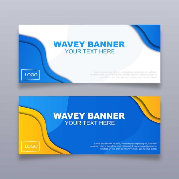 Bannière wavey Vecteur Premium
