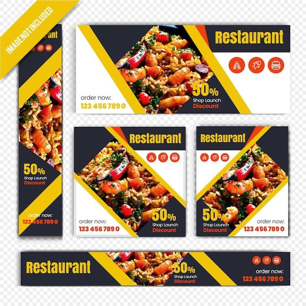 Bannière web alimentaire pour le restaurant Vecteur Premium