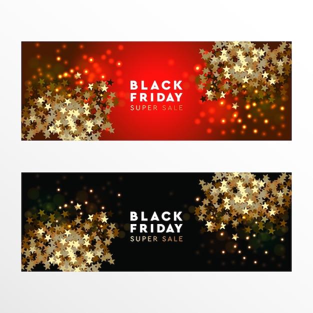 Bannière Web Black Friday Super Sale, Illustration Vectorielle Vecteur Premium