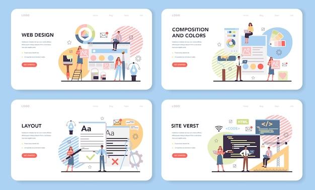 Bannière Web De Conception Web Ou Ensemble De Pages De Destination Vecteur Premium