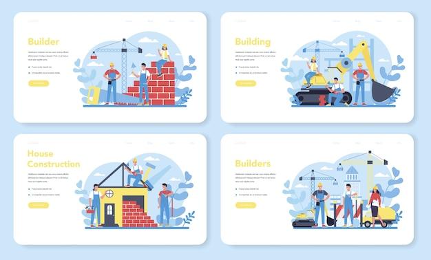 Bannière Web De Construction De Maison Ou Ensemble De Pages De Destination. Travailleurs Qui Construisent Une Maison Avec Des Outils Et Des Matériaux. Processus De Construction De Maisons. Concept De Développement De La Ville. Vecteur Premium