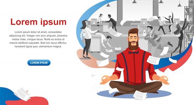 Bannière Web Sur Les Cours De Résistance Au Stress Au Travail Vecteur Premium