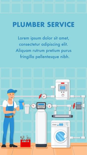 Bannière Web De Dessin Animé De Service De Plombier Avec Espace De Texte Vecteur Premium