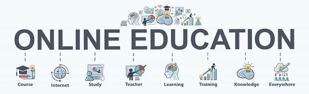 Bannière web d'éducation en ligne pour les cours et l'apprentissage en ligne, la connaissance partout Vecteur Premium