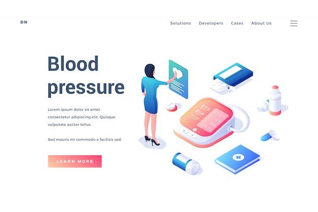 Bannière Web Avec équipement Médical Et Travailleur Pour La Mesure De La Pression Artérielle Vecteur Premium