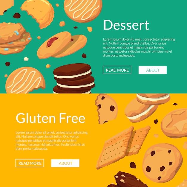 Bannière web horizontale jeu affiche avec des cookies de dessin animé Vecteur Premium